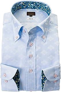 ドレスシャツ ワイシャツ カッターシャツ シャツ STYLE WORK 長袖 綿:100% ボタンダウ ボタンダウン メンズ 柄シャツ 派手シャツ|RWD123-151