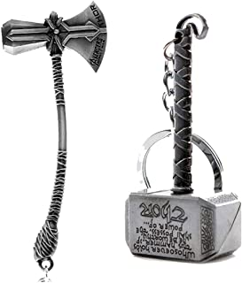 SS Agency Trendy Trotters Avengers Thor Captain America Keychains and Key Rings (Silver) -Combo Pack of 2