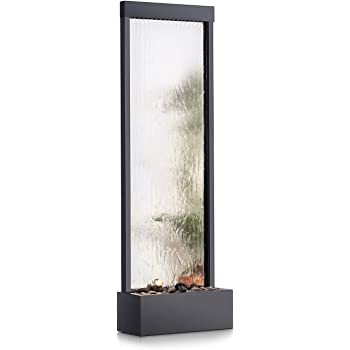 Amazon Com Alpine Corporation Mlt102 Mirror Waterfall Fountain With Stones And Light 72 Inch Tall Silver Garden Outdoor