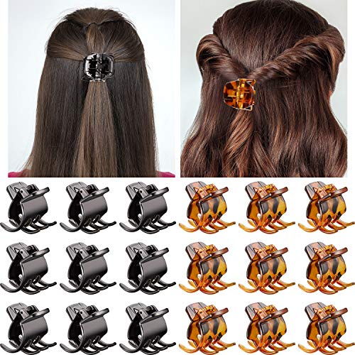 Hair Claw Clips Medium Size Hair Claws 1.3 Inch Hair Jaw Clip Claw Clip Grip for Women Girls Medium or Thick Hair (18 Pieces, Brown and Black)