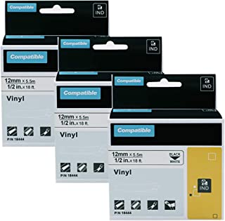 3 Pack Replace DYMO 18444 Rhino Permanent Vinyl Industrial Label Tapes Compatible with DYMO Rhino 4200 5200 5000 6000 Industrial Label Maker, Black on White, 1/2 inch x 18 feet