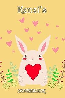 Kenzi's Notebook: Kenzi Personalised Custom Name Notebook - Love Heart Rabbit