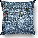 2PCS 18'X18' Kissenbezüge Blue Stitch DenIch Bin mit Jeans Tasche Nieten Stiche und Falten Washed Seam Detail Metall Kleidungsstück Polyester Square Versteckter Reißverschluss