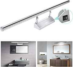 Yissvic LED Bathroom Mirror Light Mirror Front Light Bathroom Wall Lamp Stainless Steel 180°Adjustable Waterproof IP44 with Switch 9W Cold White