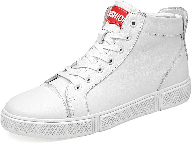 SHENG Men's low-heel ankle boots, winter warm shoes, men's casual fashion snowshoes,White,43