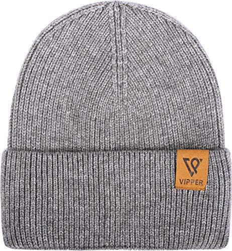 VIPPER Men Beanie Knit Skull Cap Warm Stocking Hat Guys Women Winter Cuff Cuffed Beanie Hats Dark Grey