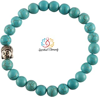 Spiritual Elementz Reiki Charged Gift Natural Gemstone (7-8mm) Turquoise Bracelet Gemstone Chakra Stretch Bracelet (21-24 ...