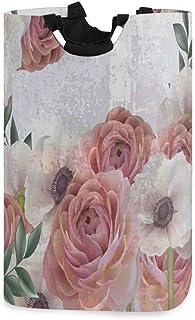 Mnsruu Panier à linge pliable avec poignées Motif roses et coquelicot