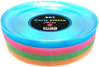EDI Hard Plastic 9-Inch Round Party/Luncheon Plates, Assorted Neon, 40-Count