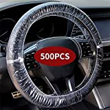 500PCS Universal Disposable Steering Wheel Cover Plastic Transparent Car Steering Wheel Covers with Elastic Trims for Steering Wheels