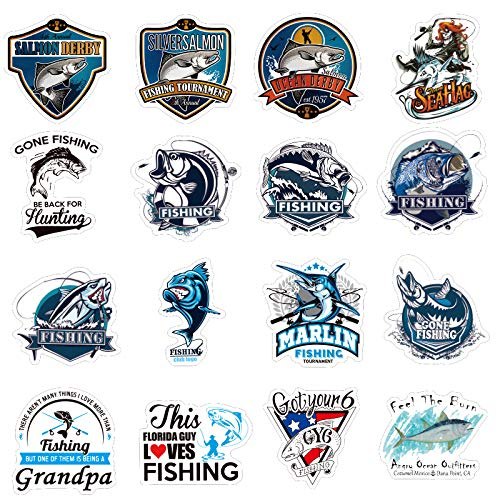 Shark Fishing Cartoon Vinyl Water Bottle Stickers -Trendy Sticker Packs for Bottles/Computers/Cell Phone-Decals for Skateboard -Waterproof Decal Laptop Aesthetic - 50 Pack - Hydro Flask - VSCO Sticker