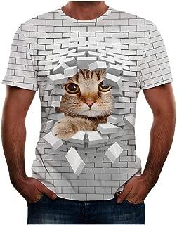 Men Halloween T-Shirts, Cute Cat Funny Print O-Neck Short Sleeve Tops
