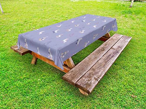 ABAKUHAUS Sport Outdoor-Tischdecke, Roller Skates Floral Design, dekorative waschbare Picknick-Tischdecke, 145 x 265 cm, Mauve Weiß und Pfirsich