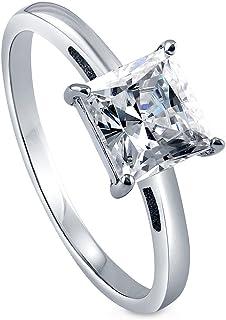 BERRICLE 镀铑纯银方晶锆石 CZ 单粒宝石订婚戒指
