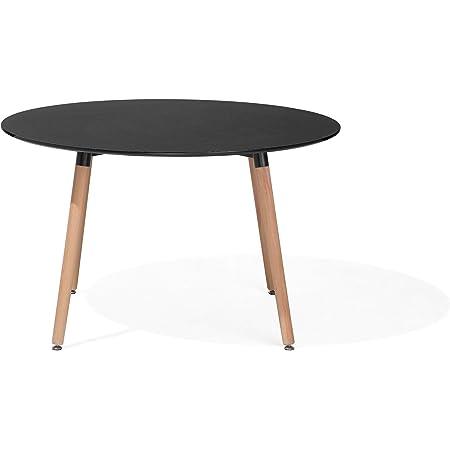 Beliani Table de Salle à Manger - Table de Cuisine - Noir - 120 cm - BOVIO