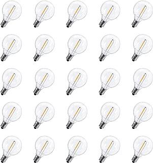 25-Pack Shatterproof LED G40 Replacement Bulbs, E12 Screw Base LED Globe Light Bulbs for Patio String Lights, Equivalent to 5-Watt Clear Light Bulbs