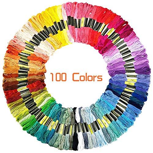 100/200 Stränge Regenbogen Farbe Stickseide Kreuzstichfaden Bastelseide für Heimwerker