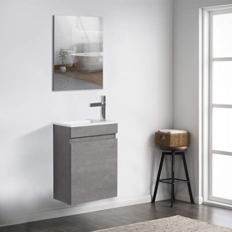 Amazon Com 16 Small Bathroom Vanity And Sink Combo Tona Wall Mounted Vanity With Sink Combo Mirrors For Vanity Modern Design Mdf Cabinet Set Grey Faucet Drain Not Included Tools Home