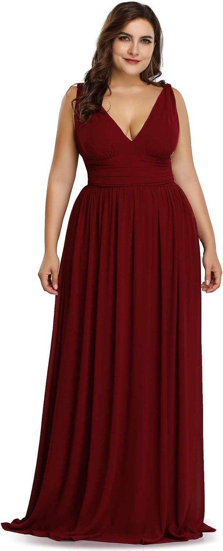 Ever-Pretty Women's Plus Size Chiffon Double V-Neck Semi-Formal Evening Party Maxi Dresses 9016PZ