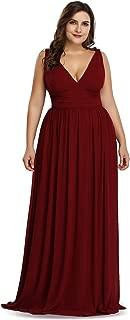 Women's Plus Size Chiffon Double V-Neck Semi-Formal Evening Party Maxi Dresses 9016PZ