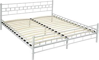 TecTake Lit en métal Design Cadre de lit + sommier à Lattes - diverses modèles - (180x200cm, Blanc)