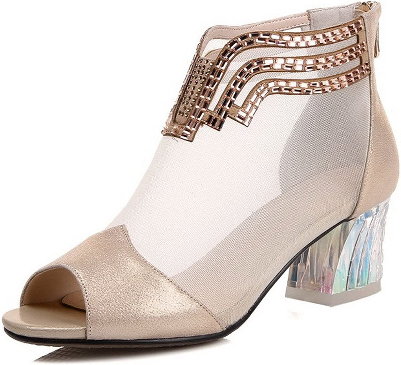 AllhqFashion Women's Peep Toe Sheepskin Kitten Heels Solid Sandals with Glass Diamond