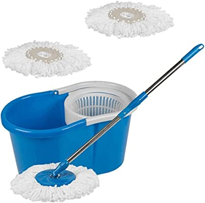 Kitchen India™ Smile Mom, Magic Spin Mop with Bucket Set Offer with Easy Wheels for Best 360 Degree Floor Cleaning, 2 Refill Head, Free Microfiber (Multicolor)
