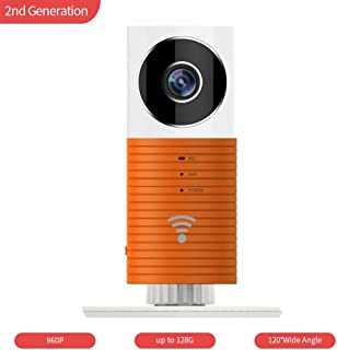 Clever Dog WiFi Security Camera HD with Wide Angle, Advanced Person Pets Detection, Two-Way Audio, SD Card Alarm Recording, Cloud Storage, Motion Alerts with iPhone, Android Smartphone Apps- ORANGE
