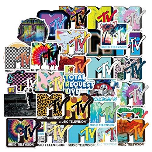 XXCKA Aufkleber Pack 100 Stück MTV Radio Kreativer Trend Graffiti Personalisierte tragbare wasserdichte Aufkleber Notebook Gitarre Auto Dekoration Aufkleber