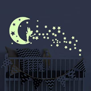 Moon Glow in The Dark Wall Stickers, Fairytale Fairy Glow Stickers and Stars Wall Decals Vinyl Design for Nursery Room DIY Mural Decoration