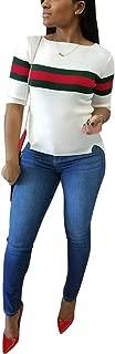 Akmipoem Women's Ribbed Ribbon Stripe Patchwork Half Sleeve T-Shirt