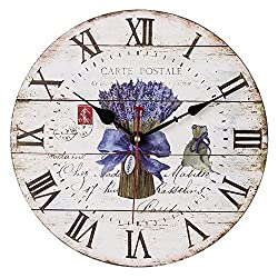 SkyNature Home Decor Clock, 14 Inch Large Wall Clock, French Lavender & Roman Numerals Wooden Dial, Silent Non-Ticking Quartz Round Clock