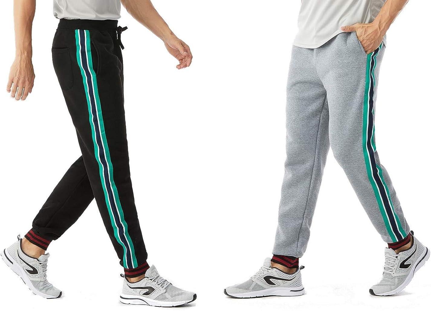 Heavy Fleece Sweat Pants TEXFIT US Forces Series 2-Pack Mens Jogging Pants with Contrast Stripes 2pcs Set