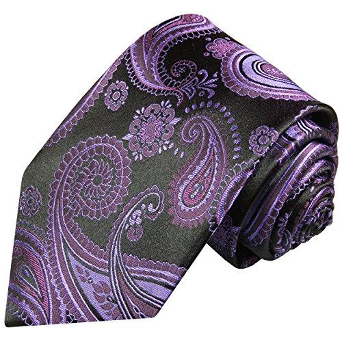 Cravate homme noir violet paisley 100% soie