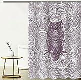 JOVEGSRVA Duschvorhänge Cartoon Eule Wasserdicht Badezimmer Gardinen Dusche Bad Vorhang Form Bad Vorhang Mit 12 Haken 180 X 180 cm