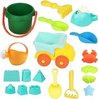 WTOR 19点セット 砂遊び 砂場 水遊び セット おもちゃ 海や公園へGO!バケツ、車といろいろ砂型など付き 知育玩具 子供 お誕生日 プレゼント お風呂用 収納袋付き(商品の色 ランダム) (19セット)
