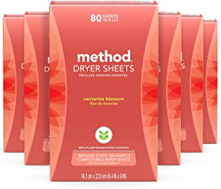 Method Dryer Sheets, Nectarine Blossom, 80 Sheets, 6 pack, Packaging May Vary