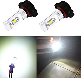 Alla Lighting 3800lm Xtreme Super Bright 2504 PSX24W LED Foglight Bulbs 2504 Fog Lights High Illumination ETI 56-SMD LED PSX24W Bulb 12276 2504 PSX24W Fog Lights Lamp Replacement - 6000K Xenon White