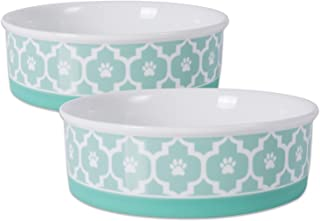 """DII Bone Dry Lattice Ceramic Pet Bowl for Food & Water with Non-Skid Silicone Rim for Dogs and Cats (Large - 7.5"""" Dia x 2...."""