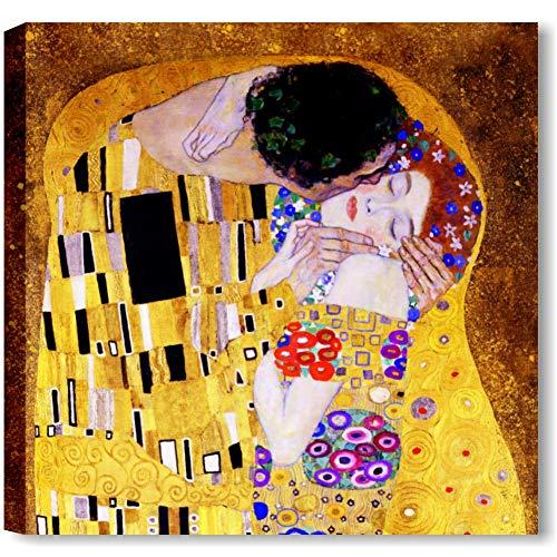 Quadri L&C ITALIA Klimt Il Bacio Quadro Moderno Stampa su Tela da Parete 50 x 50 per Soggiorno Ufficio Camera da Letto Riproduzione Autori Famosi