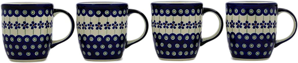 Polish Pottery Set of Four 12oz Mugs (Flowering Peacock Theme) + Certificate of Authenticity