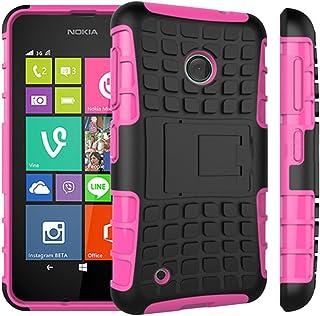 TECHGEAR Nokia Lumia 530 tuff robust tung skyddande skyddande skal med stativ + skärmskydd med rengöringsduk, PINK (TOUGH)