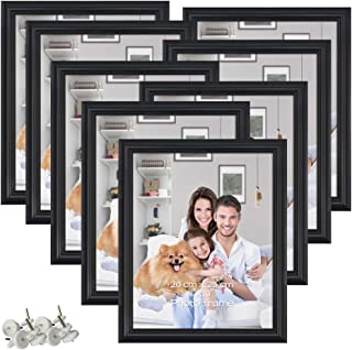PETAFLOP 8 Pack 8x10 Picture Frames Black 8 by 10 Decorative Poster Frame Wall and Desktop Display