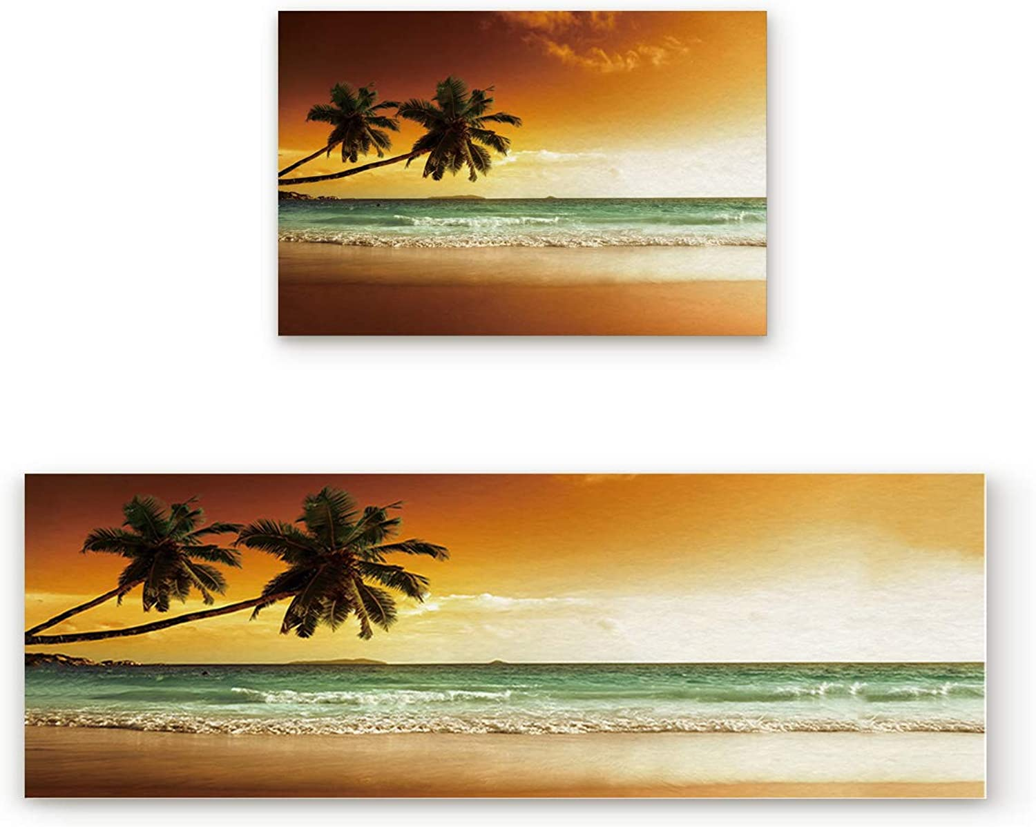 2 Piece Non-Slip Kitchen Mat Doormat Runner Rug Set Thin Low Pile Indoor Area Rugs Ocean Theme Fairy Sunset Over The Sea with The Palms on The Beach at Island in Horizon 19.7 x31.5 +19.7 x47.2