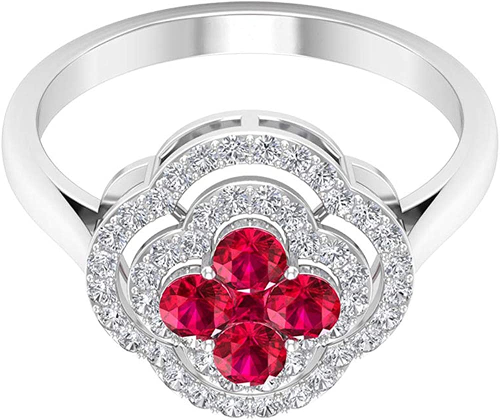 0.64 Ct Princess Cut Ruby Glass Filled Cluster Ring, 0.38 Ct SGL Certified Diamond Halo Gold Ring, Gemstone Floral Statement Women Ring, Unique Wedding Bridal Ring, 14K Gold