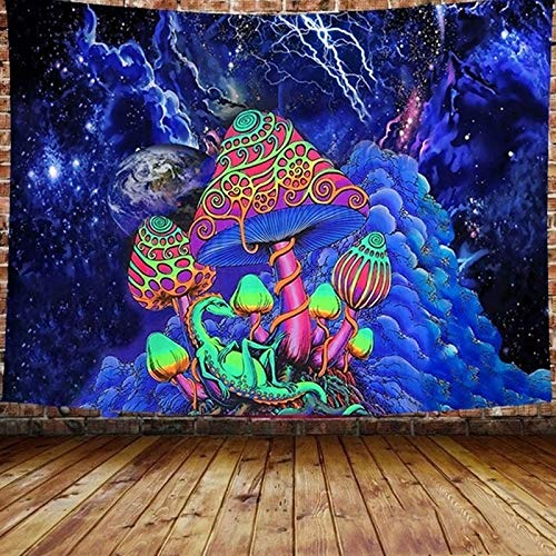 3D-Druck Pilz Tapisserie Hippie Bunte Kunst Dekoration Schlafzimmer Wohnzimmer Wandbehang Wandteppich A2 200x150cm