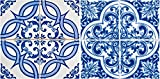 Mi Alma Authentic Tile Stickers 24 PC Set Spanish Design Wall Tile Decal Perfect for Kitchen Backsplash or Bathroom Tiles Vinyl Art Easy to Install Peel and Stick (4x4 Inch, Vintage Blue H202)