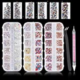 Nail Rhinestones Nail Stones Gems with 1PC Tweezer and 1PC Wax Dotting Pen for Nail Art Supplies Accessories and Nail Decoration