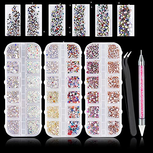 5900Pcs AB Crystal Nail Rhinestones,Round Flatback Glass Nail Gems Stones Nail Sequins Nail Crystals for Nail Art Supplies Accessories with 1PC Tweezer and 1PC Wax Dotting Pen for Nail Decoration