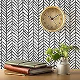 ConCus-T Papel Pintado Autoadhesivo de Rayas Negras y Blancas Papel de Contacto Impermeable para Muebles/Cocina/Baño Patrón de Espiga 45×600CM